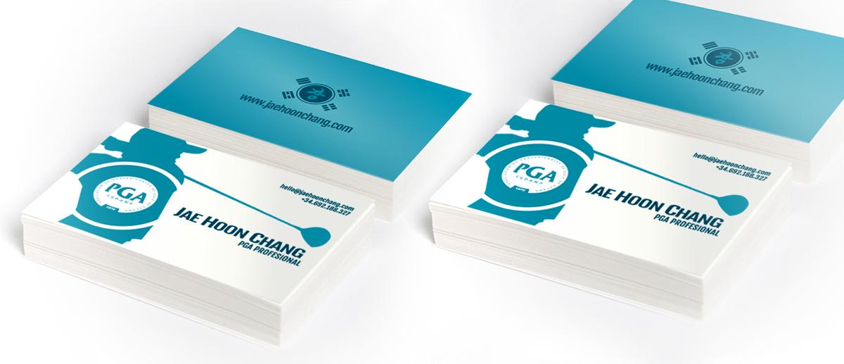 Diseño de tarjetas de visita e identidad corporativa del jugador profesional de golf y maestro Chegun Chang