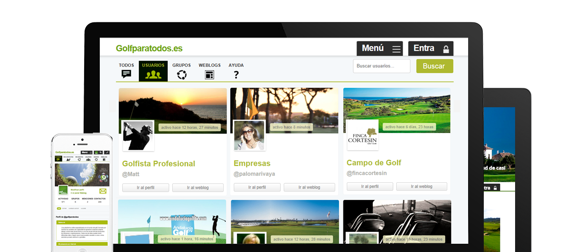 Diseño web para la red social del golf